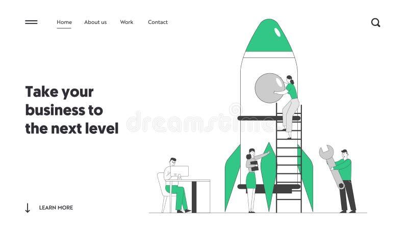Página de inicio del sitio web de lanzamiento de cohete de Creative Team Empresarios que inician proyectos de negocio ilustración del vector