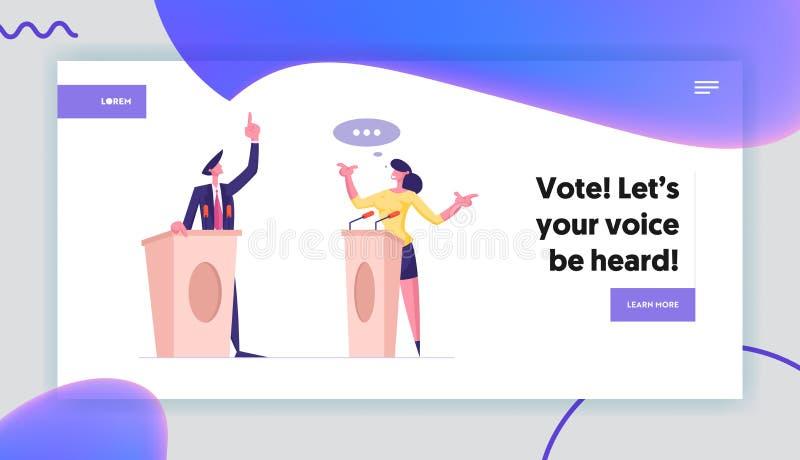 Página de inicio de discusión política y debate Altavoces en tribunas con micrófonos hablando ilustración del vector