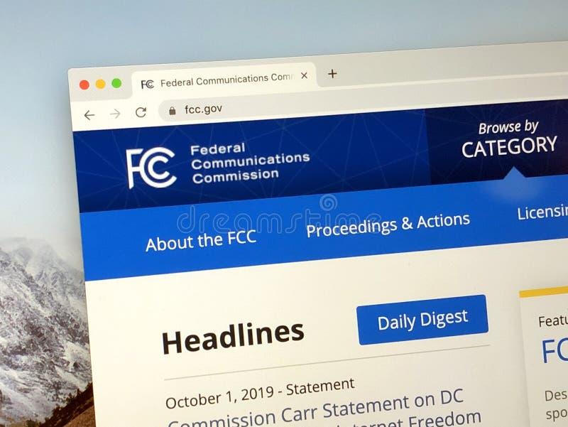 Página de inicio de la Comisión Federal de Comunicaciones imágenes de archivo libres de regalías