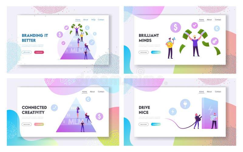 Página De Inicio De Mlm Business, Eco Transport Website Set Hombre feliz a la cabeza cargando billetes Trabajador con bolsillos v libre illustration