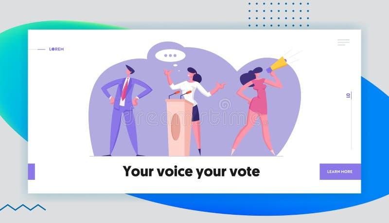 Página de inicio de reunión política con candidato en sitio web de discurso Campaña preelectoral, votantes con megáfono ilustración del vector