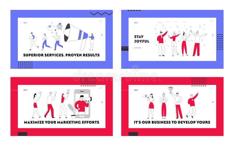 Página de inicio de sitio web de Business People Lifestyle. Equipo de negocios celebra la victoria, promoción de medios sociales ilustración del vector