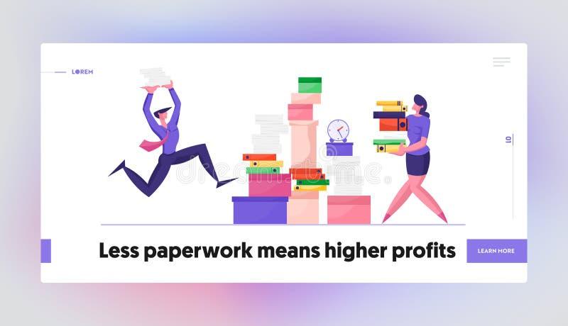 Página de inicio de sitio web del Administrador de burocracia contable en el lugar de trabajo Empresario y empresaria stock de ilustración
