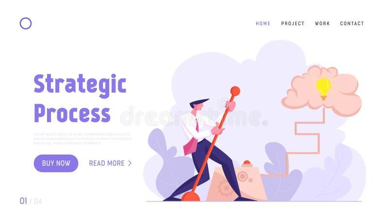 Página de inicio de sitio web de ideas creativas, Brainstorm Empresario que mueve un brazo de paleta enorme para encender una bom stock de ilustración