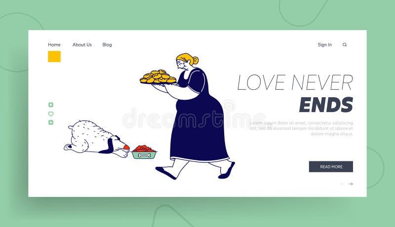 Página de inicio de sitio web de las Granny Bake Patties for Family Mujer de alto nivel lleva bandeja con una lámina de juguetes  stock de ilustración