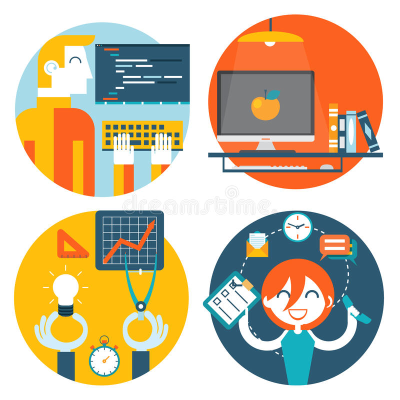 Página de Internet del concepto del lugar de trabajo del estudio del web ilustración del vector