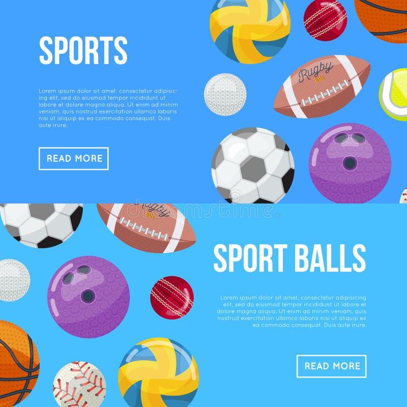 Página de Internet sobre esportes e bolas ilustração royalty free
