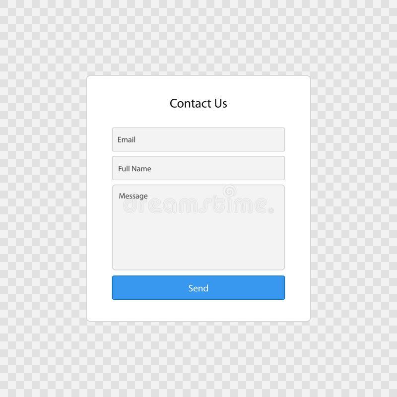 Página de la forma del contacto ilustración del vector