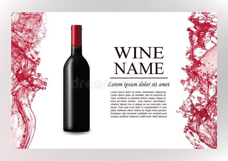 Página de la revista de la publicidad, folleto de la presentación del vino Ejemplo de una botella oscura de vino rojo en estilo f libre illustration
