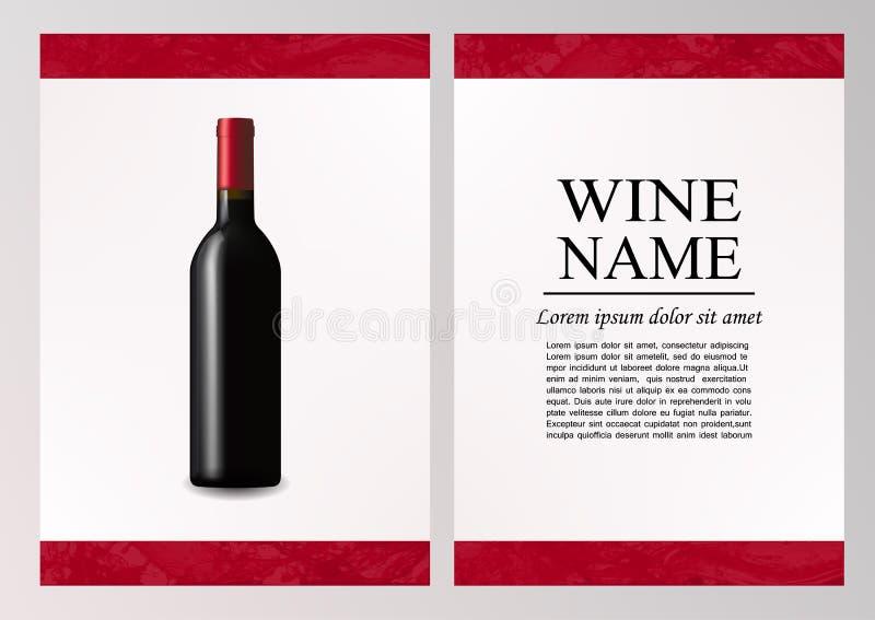 Página de la revista de la publicidad, folleto de la presentación del vino Ejemplo de una botella oscura de vino rojo en estilo f ilustración del vector