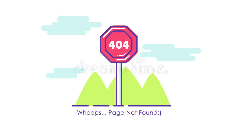 Página 404 de la señal de tráfico no encontrada ilustración del vector