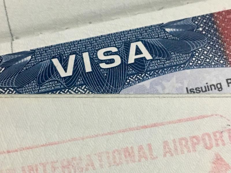 Página de la visa de los Estados Unidos de América fotos de archivo libres de regalías