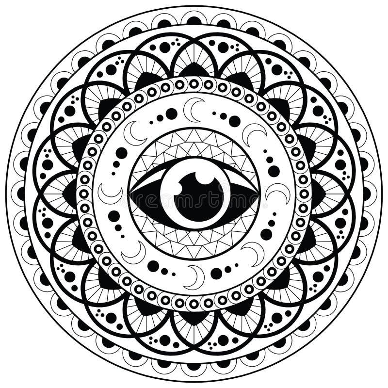 Página de Mandala Coloring para o olho adulto Mandala Coloring Pages For Meditation do projeto da mandala do abrandamento e o vet ilustração stock
