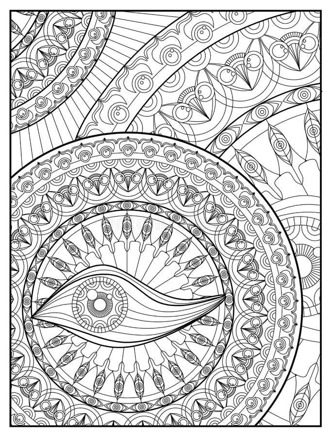 Página de Mandala Coloring para o olho adulto Mandala Coloring Pages For Meditation do projeto da mandala do abrandamento e o vet ilustração do vetor