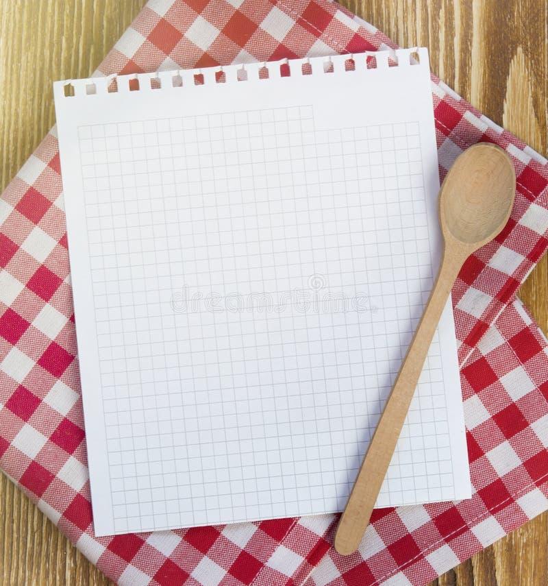 Página de papel limpia de la receta para las notas fotos de archivo