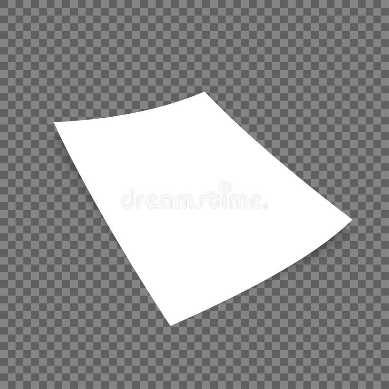 Página de papel realística branca com canto ondulado ilustração royalty free