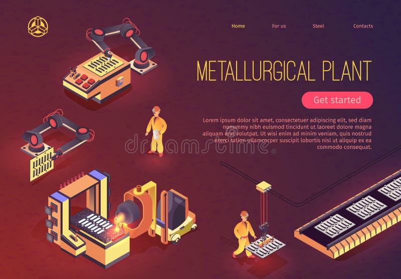 Página de Planta Metalúrgica com Equipamento Mecânico ilustração do vetor