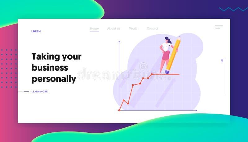 Página de Presentation Website Landing da mulher de negócios, mulher de negócio nova com suporte do lápis sobre a carta de cresci ilustração do vetor
