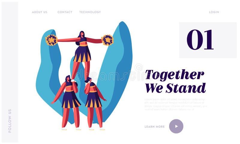 Página de Team Making Pyramid Website Landing dos líder da claque, competição de esportes, dança de Girls Characters Performing d ilustração stock