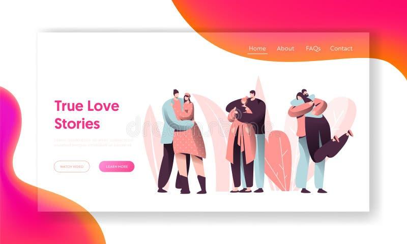 Página del aterrizaje del abrazo del carácter de los pares del amor Historia romántica de la relación feliz del amante Hombre Val stock de ilustración