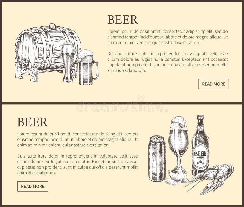 Página del aterrizaje del barril de cerveza, de la botella, de la poder, del vidrio y del bocado ilustración del vector