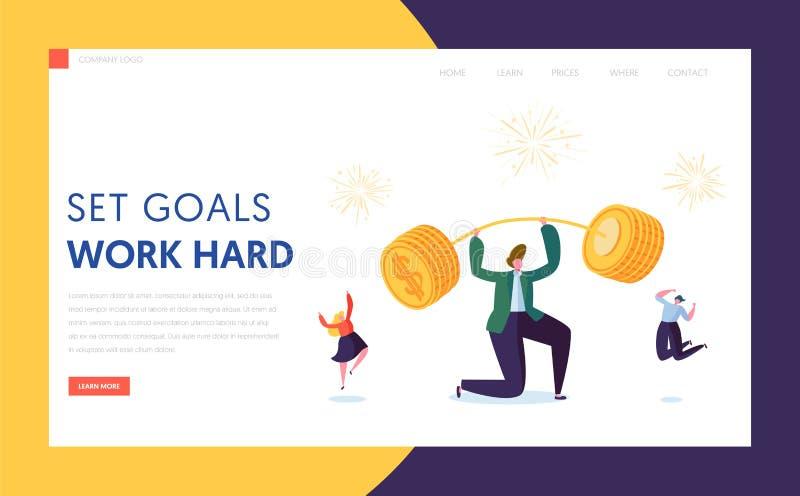 Página del aterrizaje del carácter del aumento de capital de las finanzas Hombre de negocios Lift Up Barbell con el logro de la m stock de ilustración