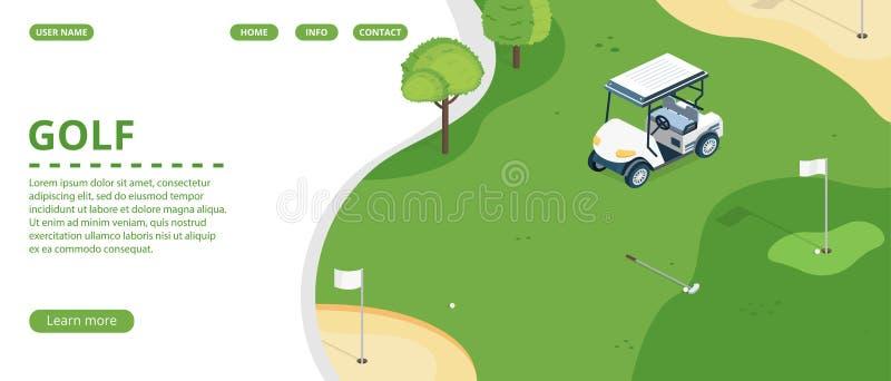 Página del aterrizaje del club de golf o plantilla del vector de la bandera stock de ilustración