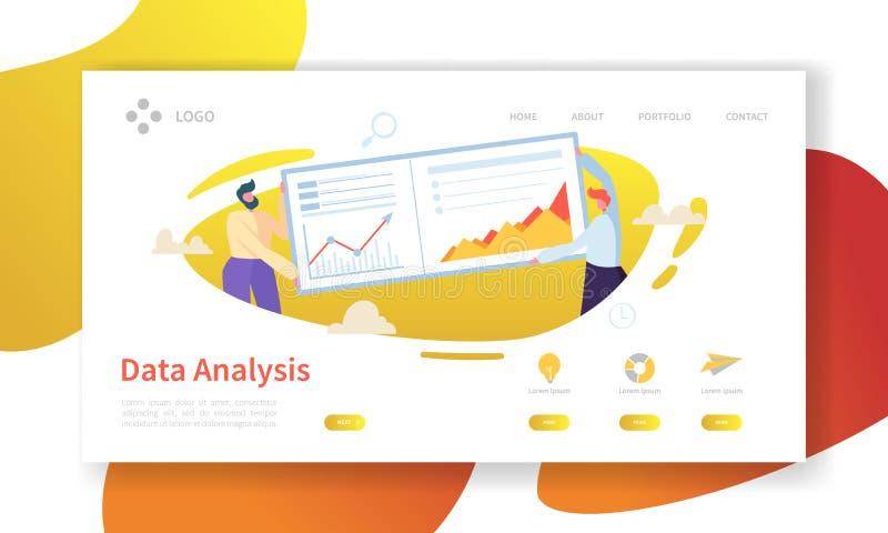 Página del aterrizaje del concepto del análisis de datos Plantilla plana de la página web del gráfico del tablero de instrumentos stock de ilustración