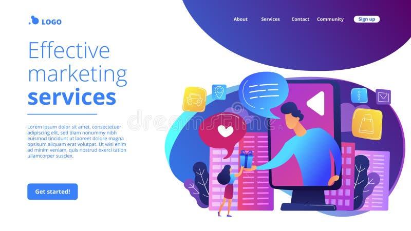 Página del aterrizaje del concepto de la publicidad interactiva stock de ilustración