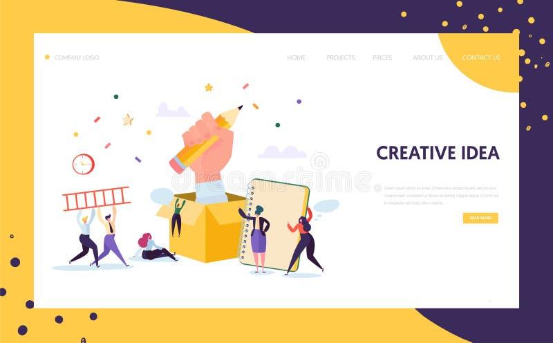 Página del aterrizaje de Creative Pencil Idea del redactor de anuncios Concepto de la creatividad del negocio para la página web  ilustración del vector