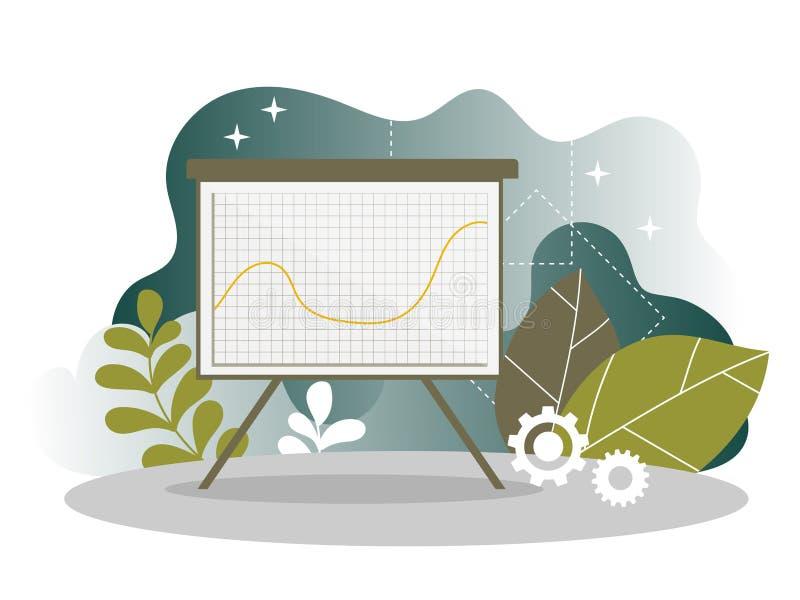 Página del aterrizaje de la carta del informe del estudio de mercado de Digitaces Diseño de la carta para la página web ilustración del vector