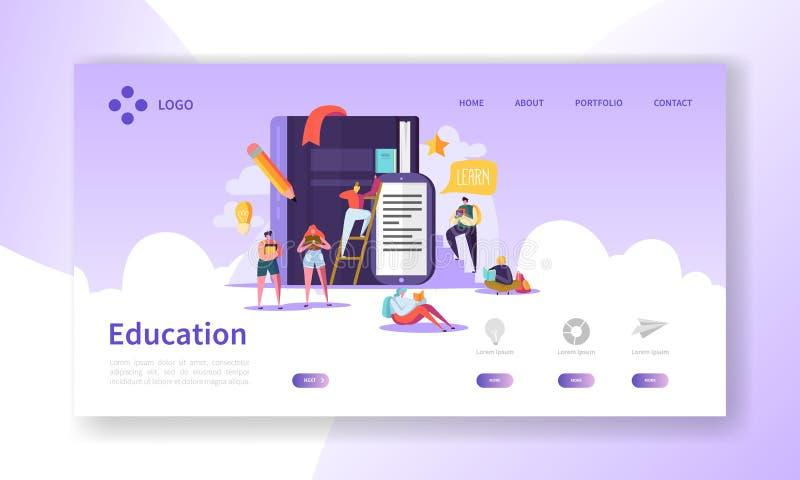 Página del aterrizaje de la educación y de la ciencia Entrenamiento, cursos que aprenden con la plantilla plana del sitio web de  libre illustration