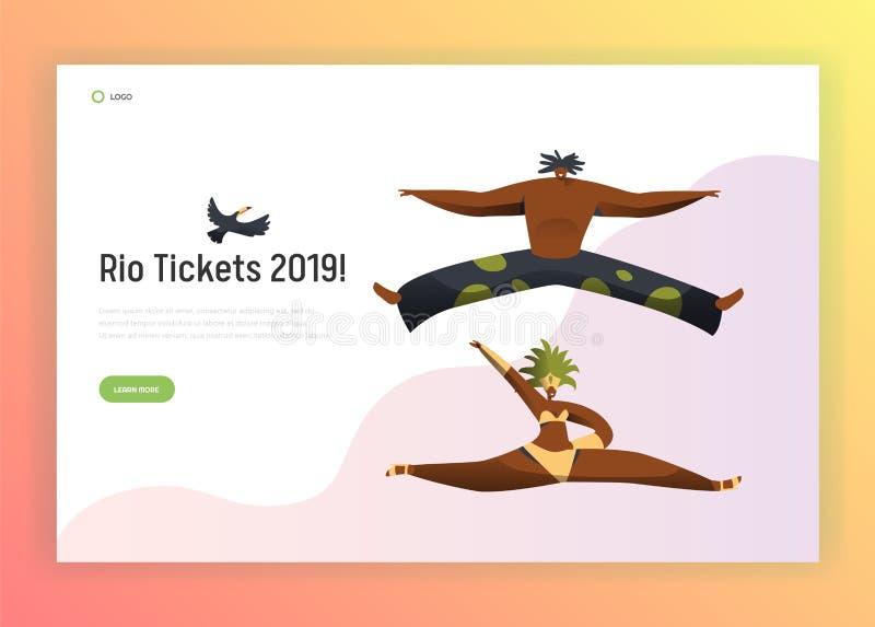 Página del aterrizaje de la mujer del hombre del carnaval de la danza del Brasil Bailarín Character Jump en el festival vivo de l stock de ilustración