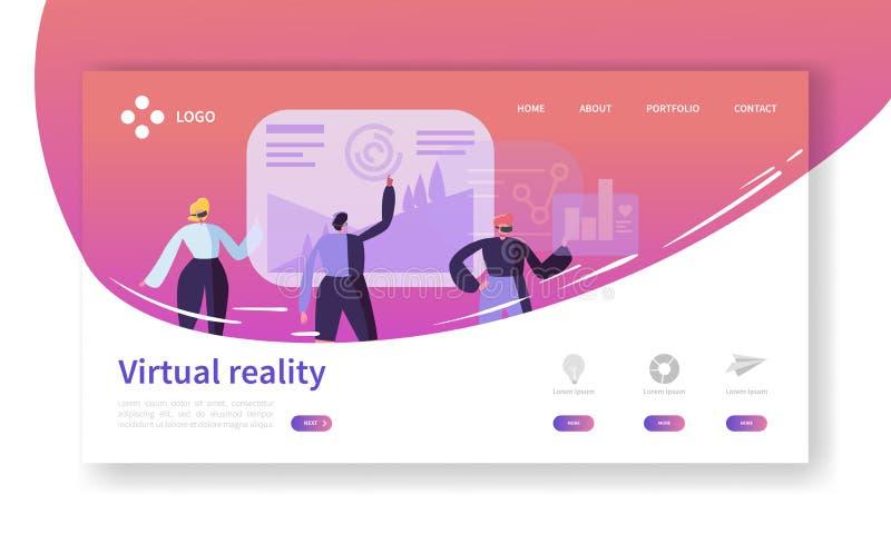 Página del aterrizaje de la realidad virtual Bandera aumentada de la realidad con la plantilla plana del sitio web de los caracte stock de ilustración