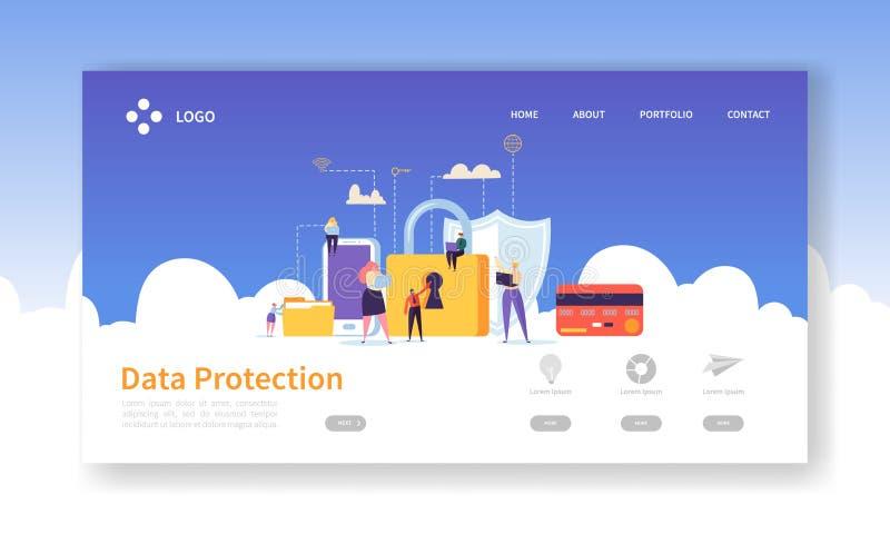 Página del aterrizaje de la seguridad de la red Bandera de la protección de datos con los caracteres planos de la gente y página  stock de ilustración