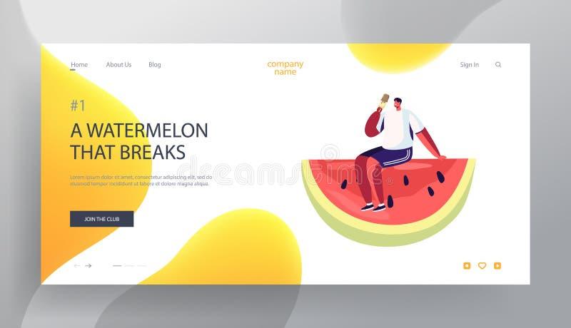 Página del aterrizaje de la página web del tiempo de verano, hombre joven que se sienta en la rebanada enorme de la sandía que co libre illustration