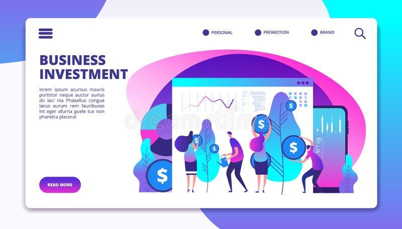 Página del aterrizaje de las inversiones Los gestores de fondos de inversión de la inversión logran el beneficio para los cliente ilustración del vector