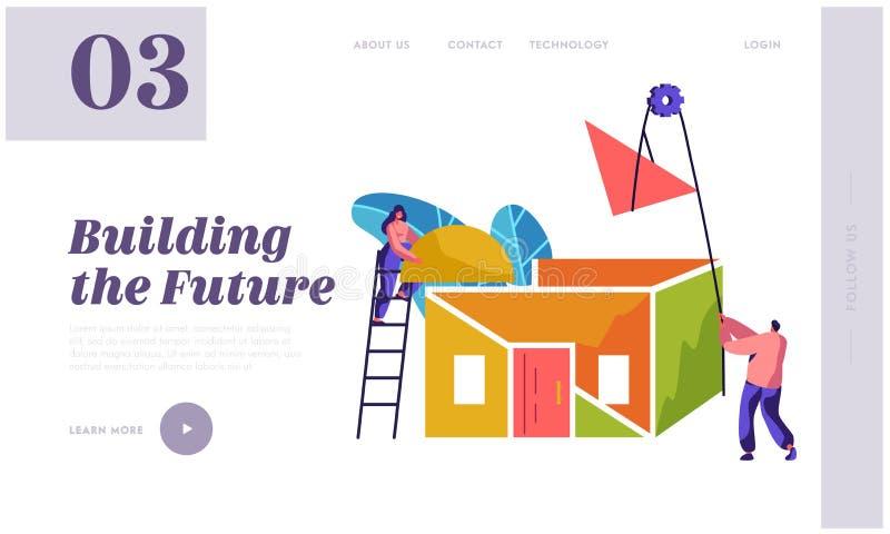 Página del aterrizaje de Team Builder Construction New Home Mujer en casa de proceso del tejado de la instalación Hombre para lev libre illustration