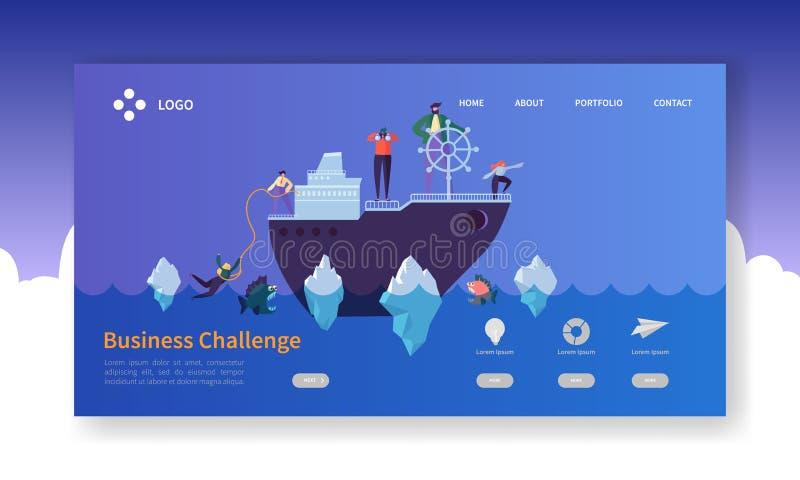 Página del aterrizaje del desafío del negocio Bandera con los caracteres planos de la gente en la nave en plantilla de la página  stock de ilustración