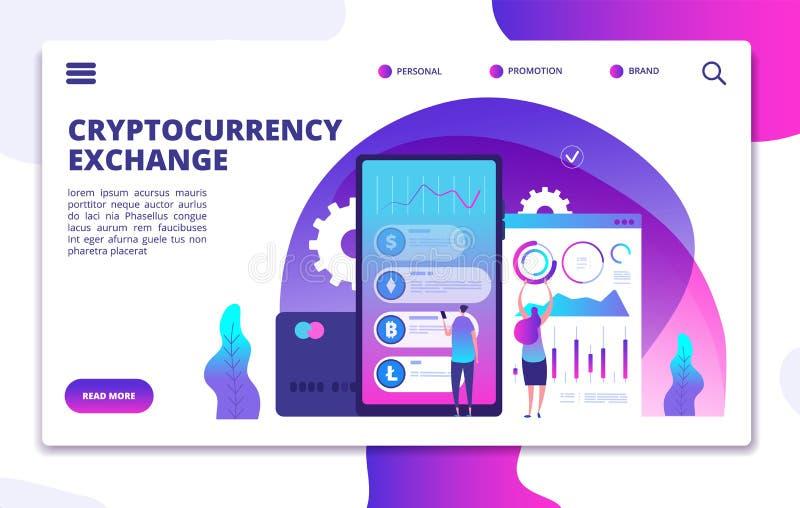 Página del aterrizaje del intercambio de Cryptocurrency Pago crypto en línea Diseño del vector de la web del mercado del negocio libre illustration