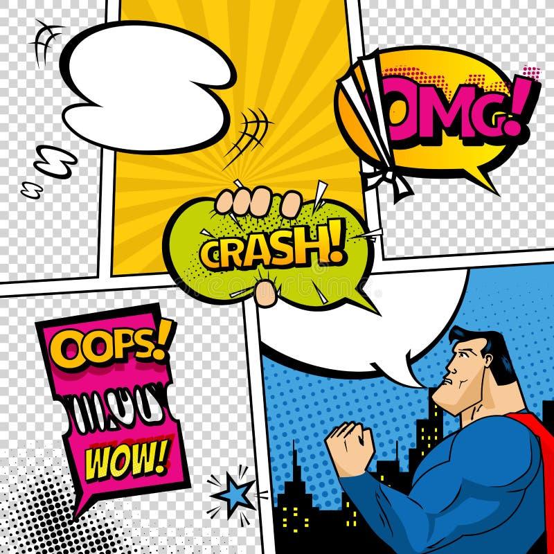 Página del cómic dividida por las líneas con las burbujas del discurso, el super héroe y el efecto sonoro Maqueta retra del fondo ilustración del vector