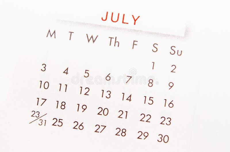 Página del calendario de julio imagen de archivo