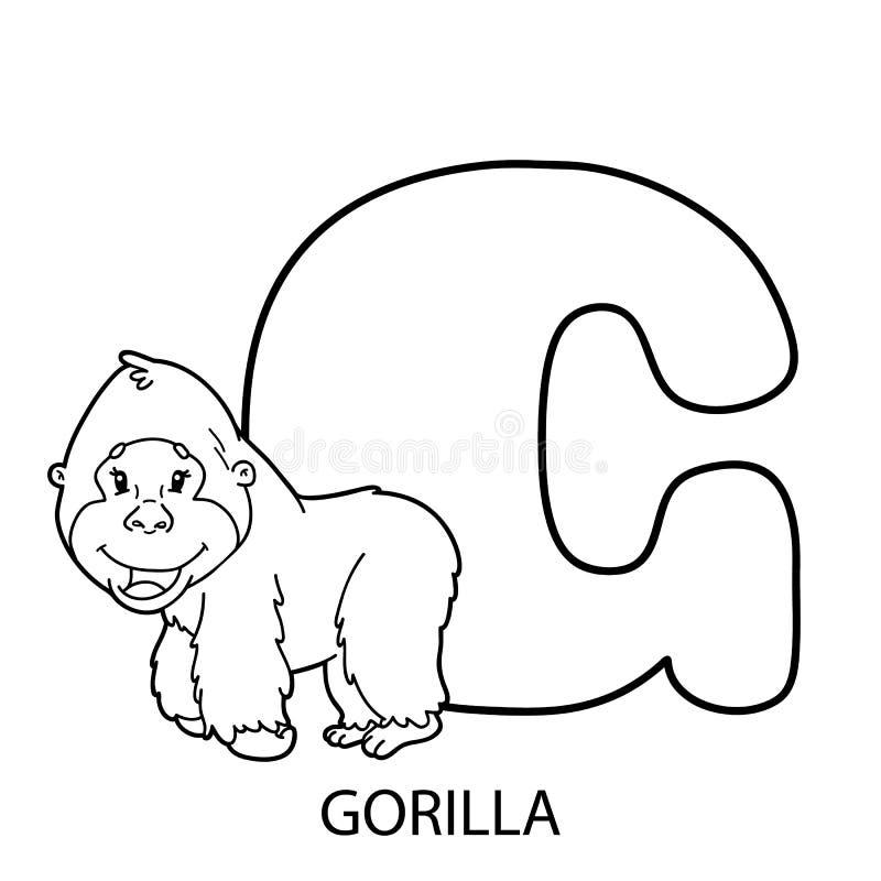 Página Del Colorante Del Alfabeto Del Gorila Ilustración del Vector ...