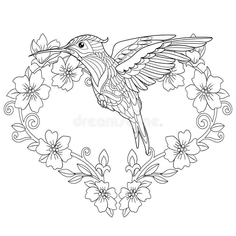 Página del colorante del colibrí de Zentangle ilustración del vector