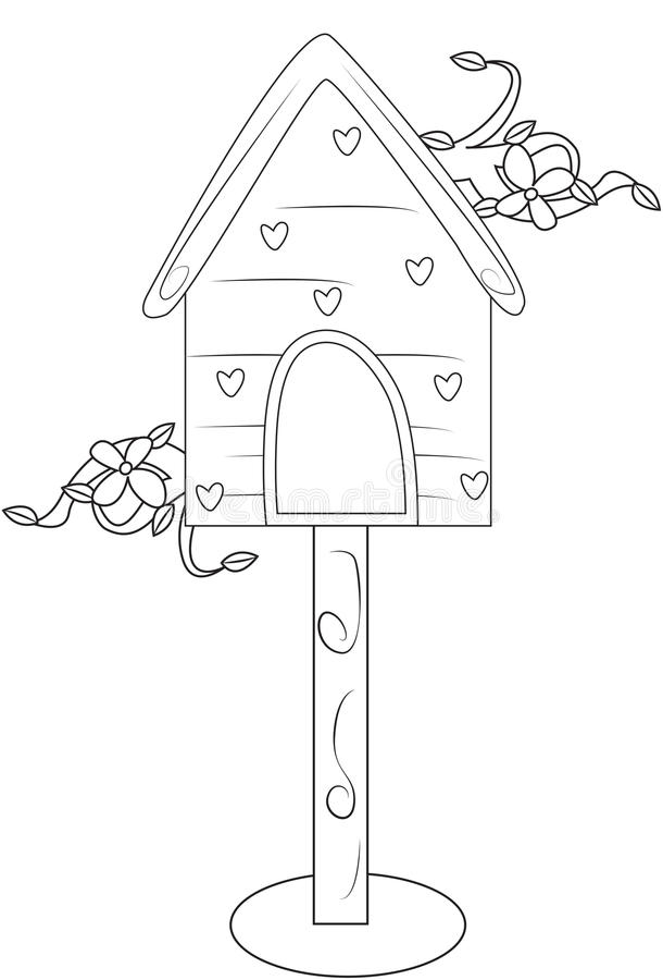 Página Del Colorante De La Casa Del Pájaro Stock de ilustración ...