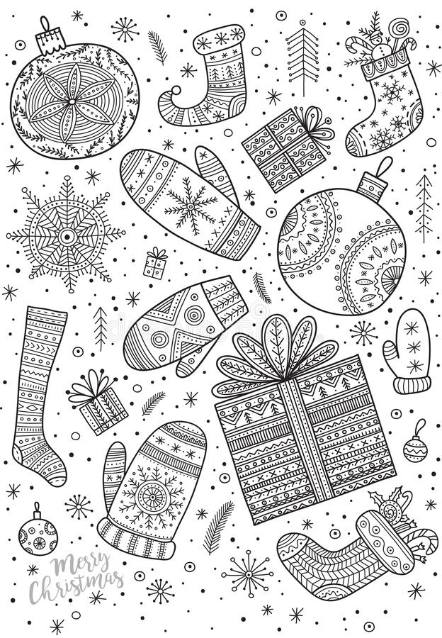 Página del colorante de la Feliz Navidad en estilo del boho fotos de archivo