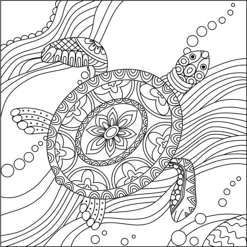 Página Del Colorante De La Tortuga De Mar Ilustración del Vector ...