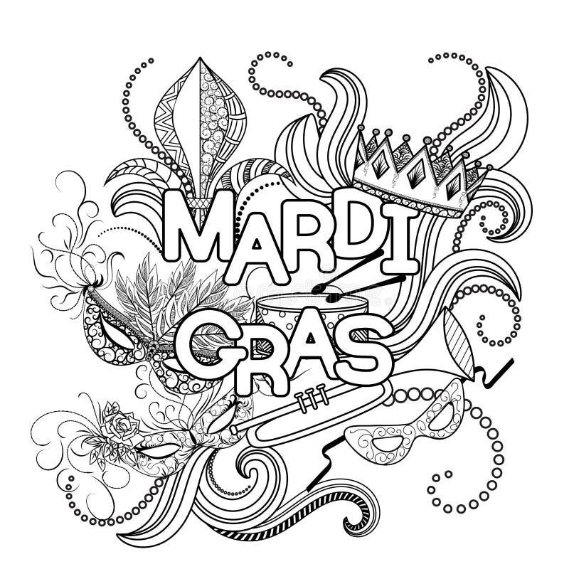 Página del colorante de Mardi Gras libre illustration