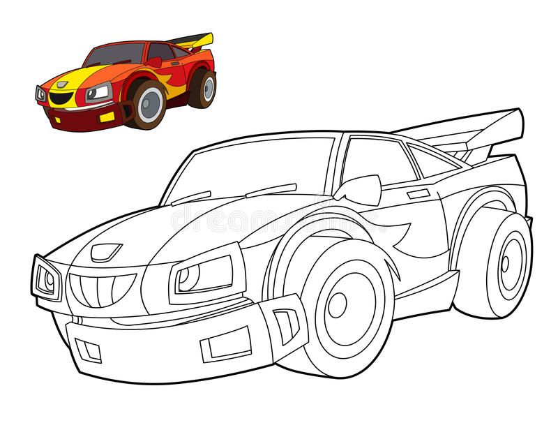 Página del colorante del coche - ejemplo para los niños ilustración del vector