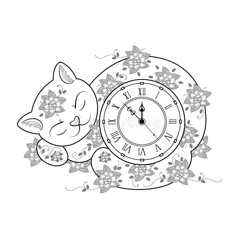Página Del Colorante Del Reloj Del Gato Línea Fina Libro De Colorear ...